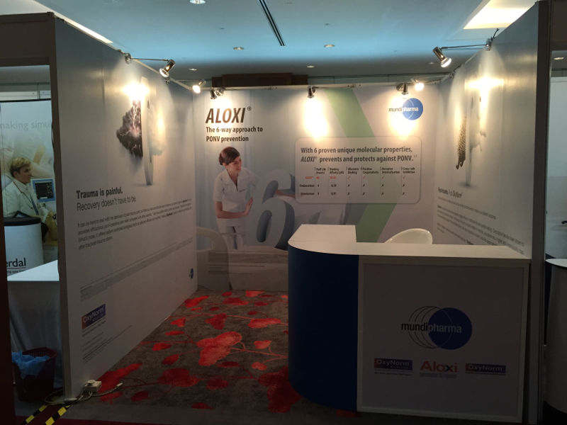 Mundipharma Simple Booth, Inkjet Sticker, Long Arm Spotlight and Counter at EQ hotel Penang